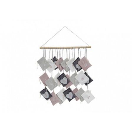 Adventní kalendář textil a dřevo 52x55cm