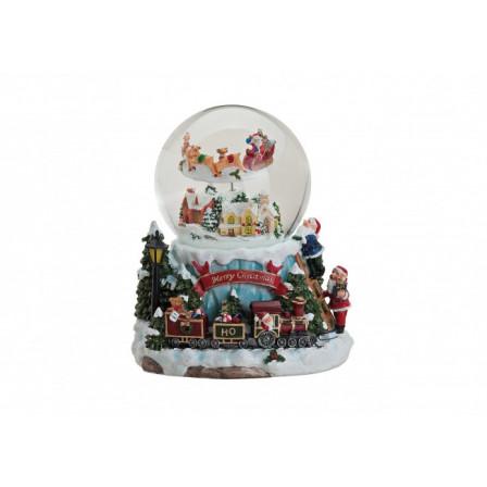 Sněžítko s vánočním motivem a hudbou 19x17 cm