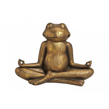 Yoga žába polyresin zlatá 43x20x29cm