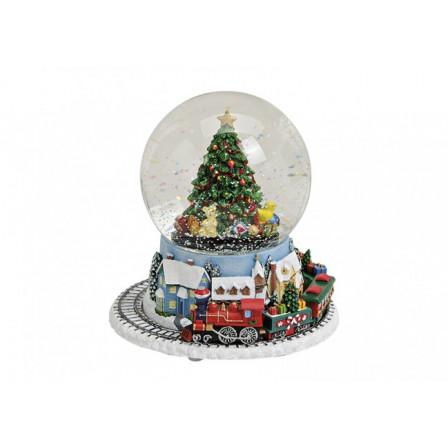 Sněžítko vánoční vlak s hudbou 18x14 cm