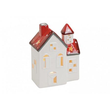 Domek keramický bíločervený 13x7x17cm