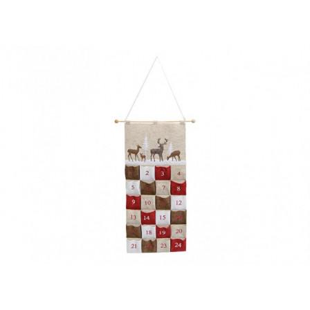 Adventní kalendář textilní béžový 36x80 cm