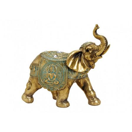 Slon zlatý Polyresin 21x20x10cm
