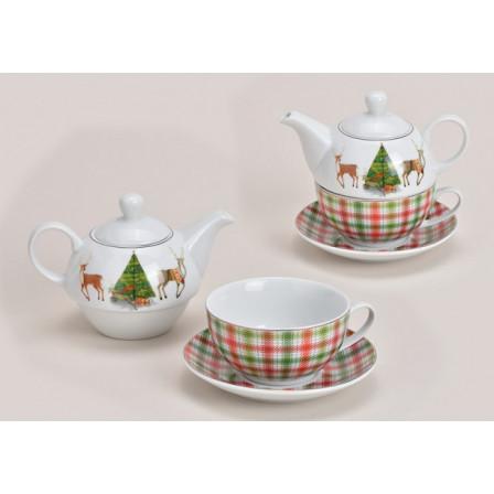 Čajová konvička s hrníčkem a podšálkem - vánoční motiv