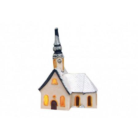Kostel zasněžený 13x9x20cm