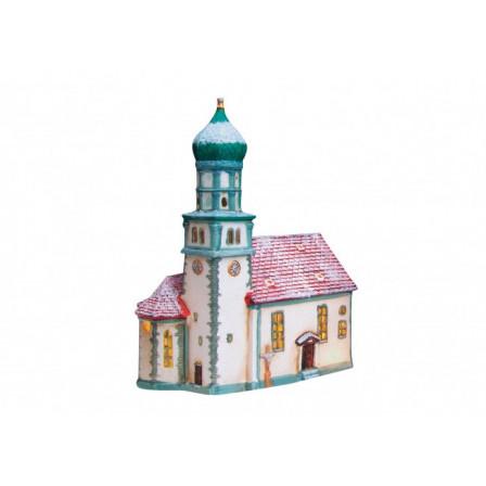 Kostel zasněžený 19x12x24cm.
