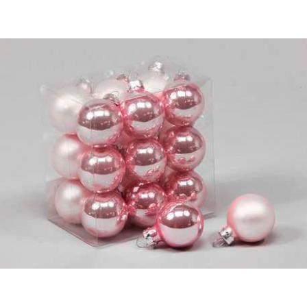 Vánoční skleněné ozdoby 18ks světle růžová 3cm