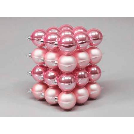 Vánoční skleněné ozdoby 36ks světle růžová 5,7cm