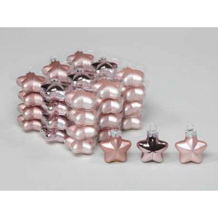 Vánoční skleněné ozdoby hvězdy 36ks růžová 4cm