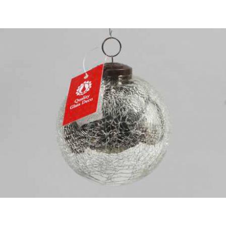 Vánoční koule praskaná stříbrná 10cm