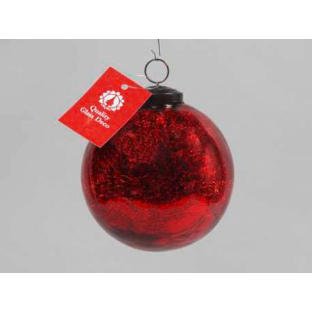 Vánoční koule praskaná červená 10cm