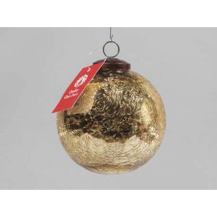 Vánoční koule praskaná zlatá 10cm