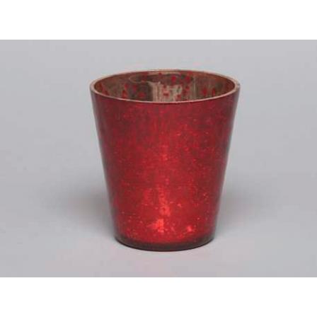 Svícen na čajovou svíčku červený 8x8cm