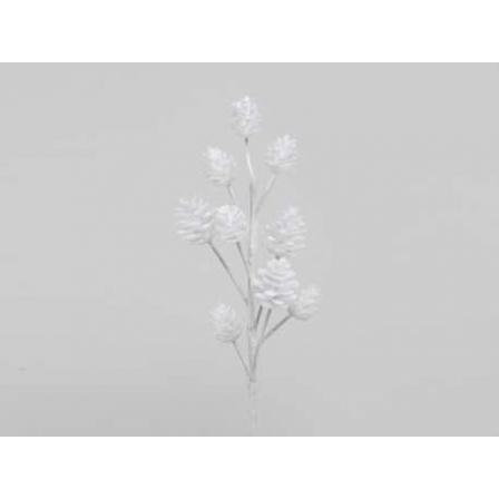 Dekorace šišková větev, 35cm, bílá, 1ks