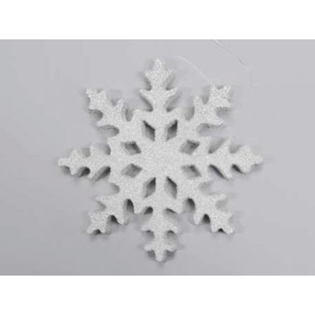 Vánoční závěs vločka bílostříbrná 25cm