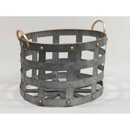 Kovový košík držadla šedý 33,5x22,5cm