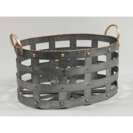 Kovový košík držadla oválný šedý 40x30x19,5cm