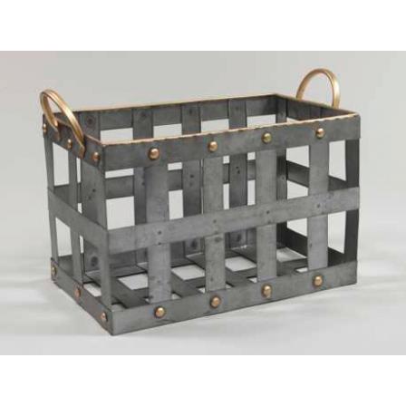 Kovový košík držadla hranatý šedý 34x20,5x21,5cm