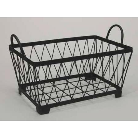 Kovový košík držadla hranatý černý 32x20x17cm