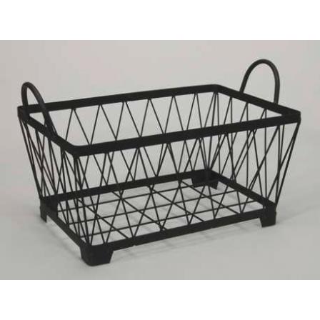 Kovový košík držadla hranatý černý 39x25,5x19cm
