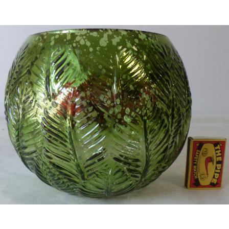 Svícen kulatý skleněný zelený 18x15cm