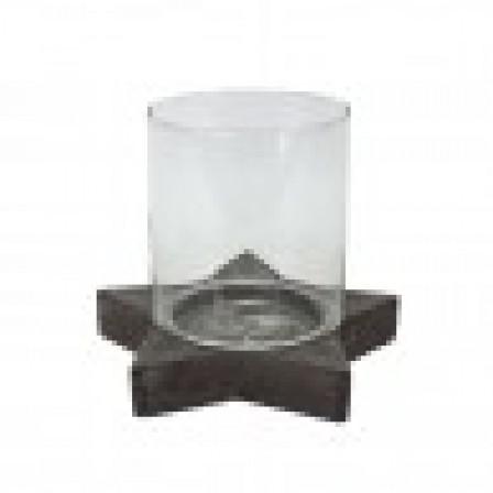 Držák svíčky hvězda, starožitné šedé, keranika/sklo 25x30cm
