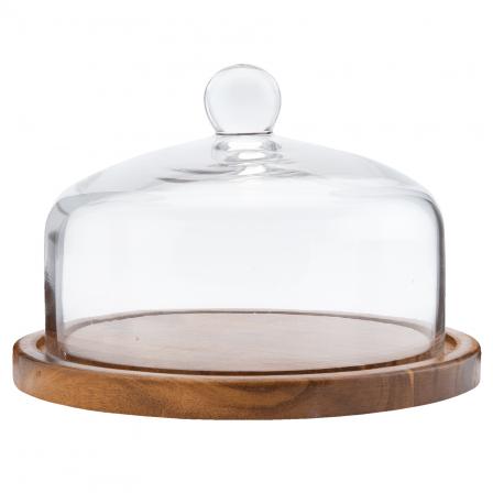 Poklop skleněný s dřevěným táckem