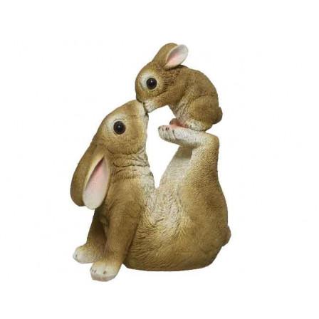Dekorace králíček s králíčkem z polyresinu
