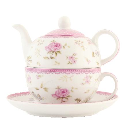 Čajová konvička s hrnkem, růžové růžičky