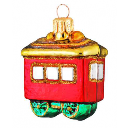 Skleněná ozdoba mini červený vagon 5cm