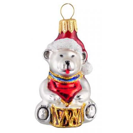 Skleněná ozdoba mini medvídek s tamburínou 6,5cm