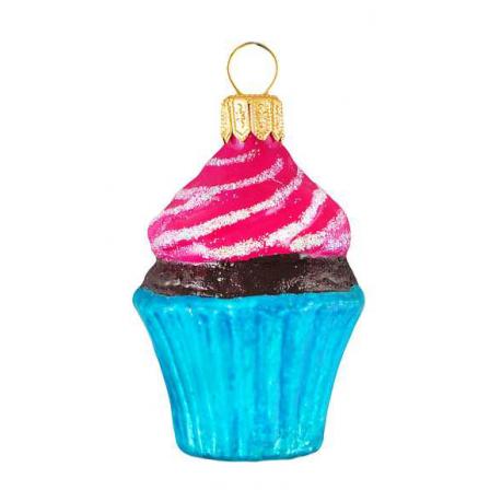 Skleněná ozdoba mini cupcake modrý košíček 6,5cm
