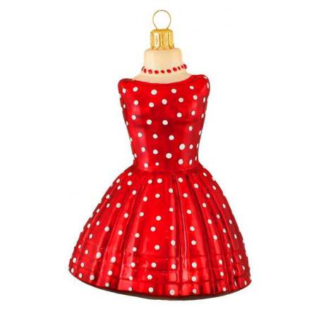 Skleněná ozdoba červené šaty 11,5cm