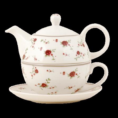 Čajová konvička s hrnkem, kvítky