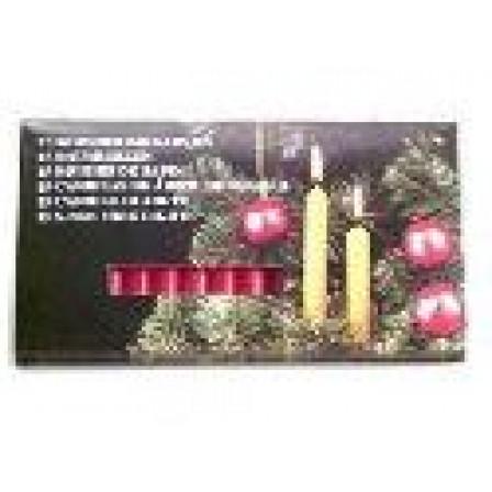 Vánoční svíčky sada 15 kusů, červená