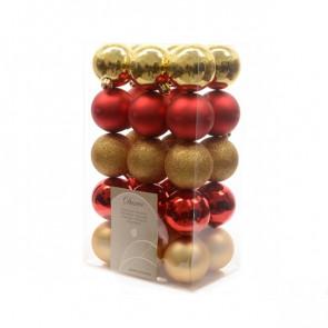 Vánoční plastové ozdoby 30ks červená/zlatá