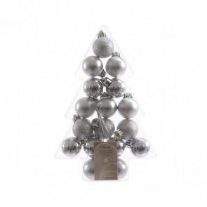 Vánoční plastové ozdoby 17ks stříbrné