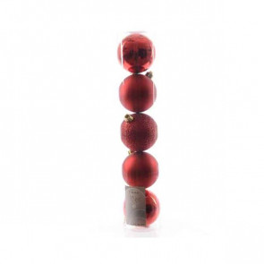 Vánoční plastové ozdoby 5ks červené
