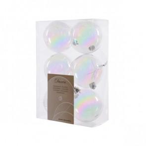 Vánoční plastové ozdoby 6ks transparentní s duhovým nádechem