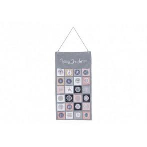 Adventní kalendář textilní šedý 43x82cm