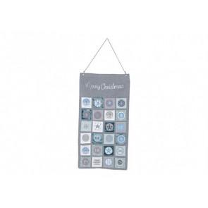 Adventní kalendář šedomodrý  43x82cm