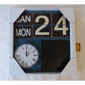 Hodiny s kalendářem a tabulkou na křídu 40x4x40cm