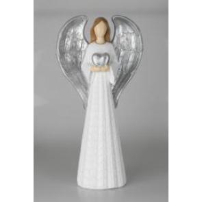 Anděl bílý se srdcem 54cm