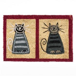 Kokosová rohožka 2 kočky bordový rám 40x60 cm