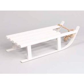 Dekorace dřevěné sáňky bílé 7x16cm