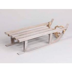 Dekorace dřevěné sáňky šedé 7x16cm