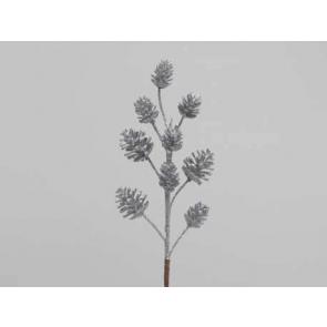 Dekorace šišková větev, 35cm, stříbrná, 1ks