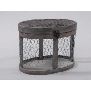Dřevěný box ´klec´ šedá  25,5x15,5x19cm