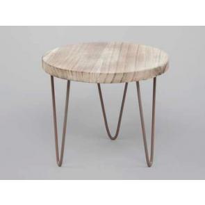 Dřevěný stolek kovové nohy 23x20cm