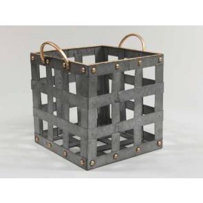 Kovový košík držadla hranatý šedý 26x26x26cm